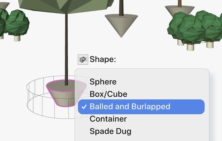 Root ball settings in Vectorworks 2022